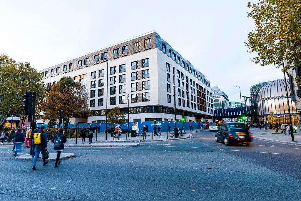 Exterior covering with portuguese Limestone at the 100 Minorities Hotel in London, UK supplied by LSI Stone