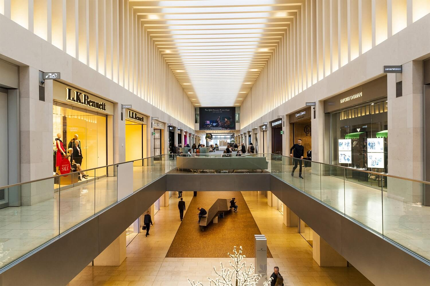 Limestone Moleanos interior cladding in a Luxuous Shopping Mall in London, UK supplied by LSI Stone