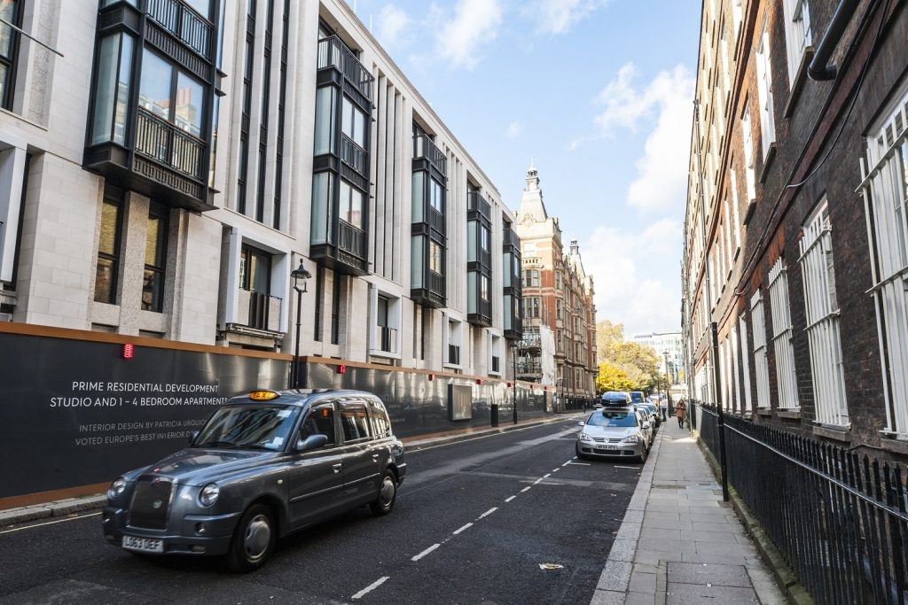 Limestone cladding of a building in Carey Street in London, UK supplied by LSI Stone