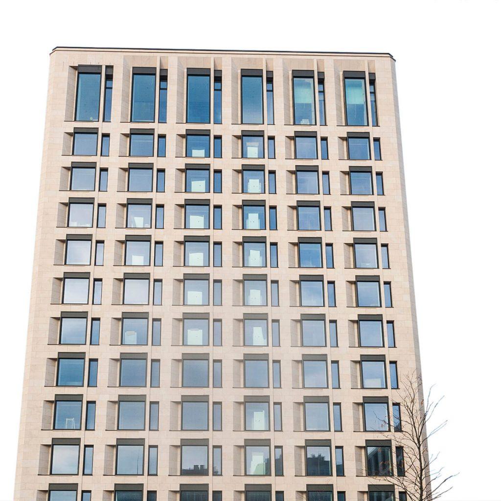 Building with portuguese natural limestone facades